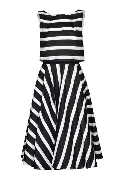 Jolie Moi Stripe Jacquard Overlay Dress