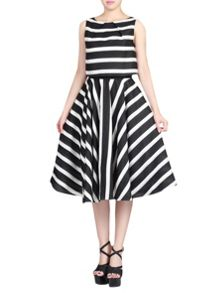 Stripe Jacquard Overlay Dress
