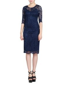 Jolie Moi 3/4 Sleeve 2In1 Lace Bodycon Dress
