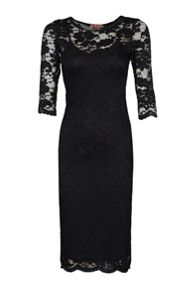 Jolie Moi 3/4 Sleeve Floral Lace Dress