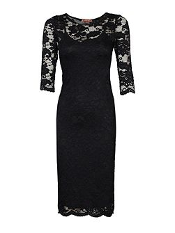 3/4 Sleeve Floral Lace Dress