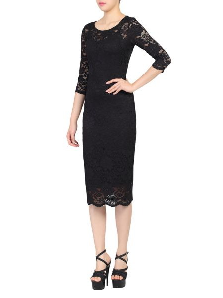 Jolie Moi Scalloped Lace Bodycon Dress