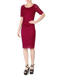 Jolie Moi Lace Ruched Shift Dress