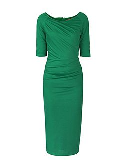 Half Sleeve Ruched Bodycon Dress