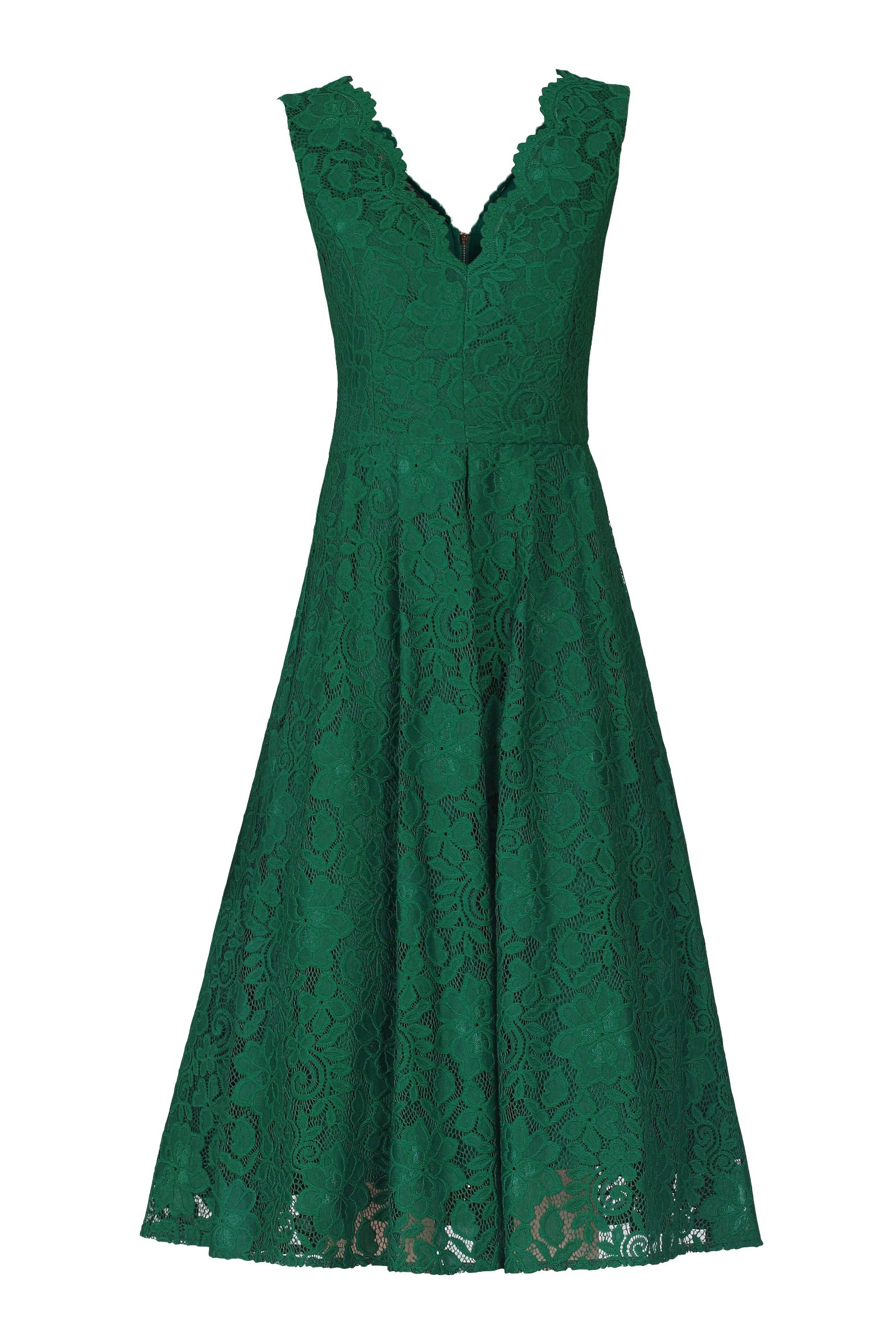 Jolie Moi Scalloped Lace Prom Dress, Green