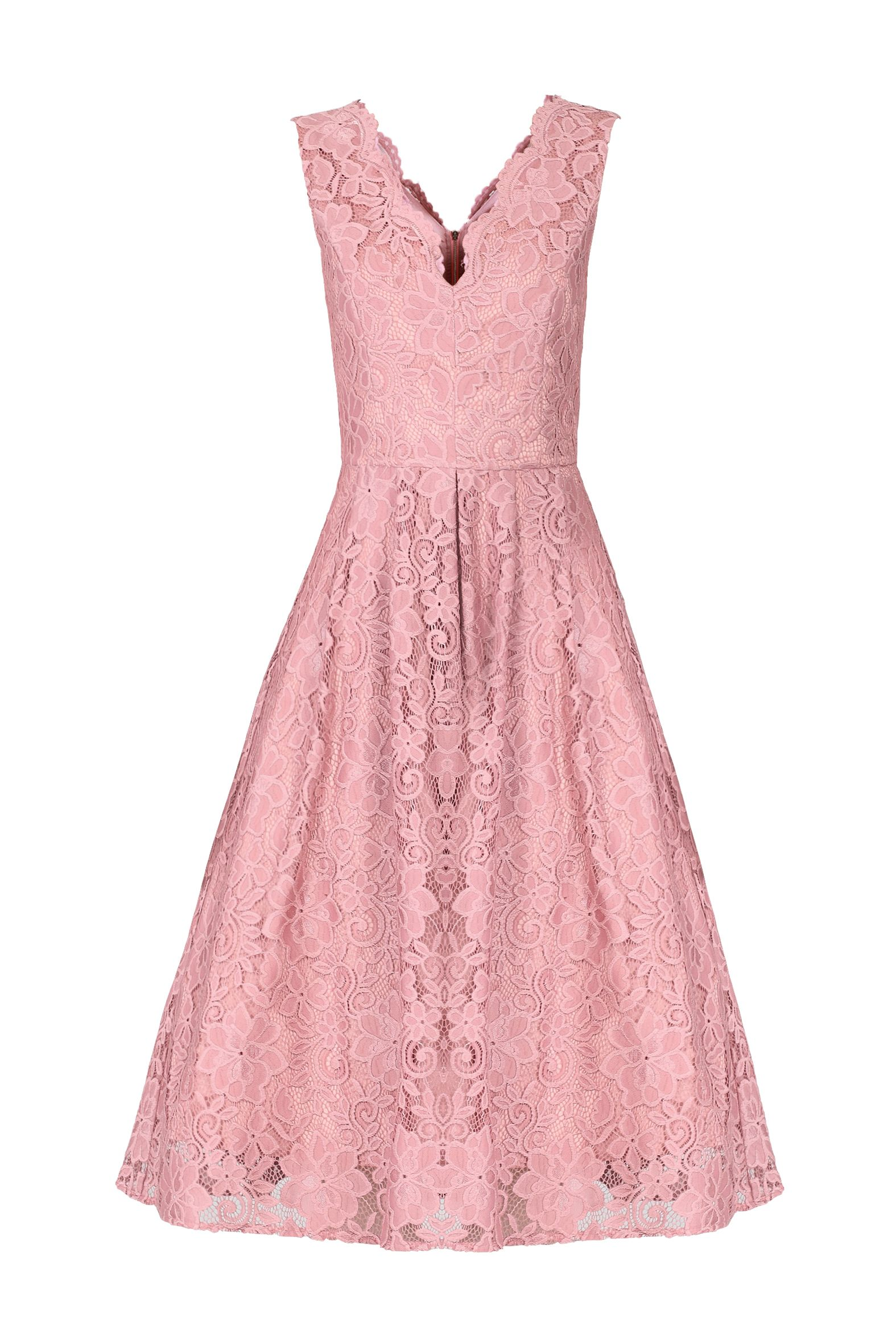 Jolie Moi Scalloped Lace Prom Dress, Pink