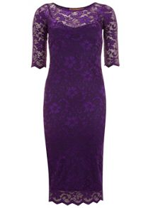 Jolie Moi Scalloped Lace Midi Dress