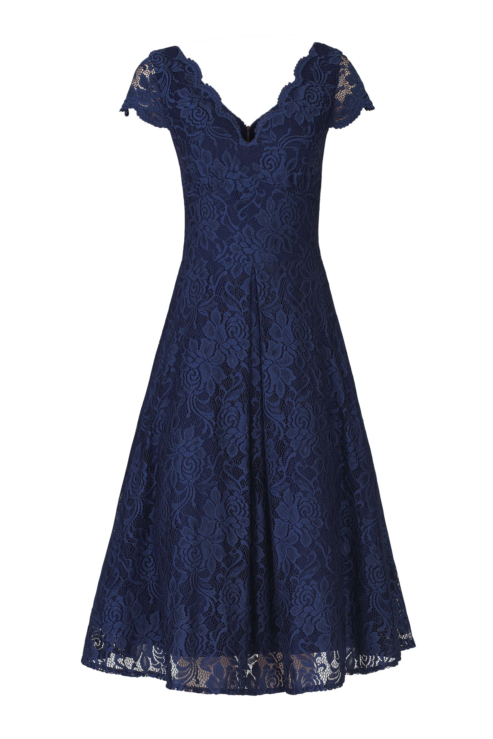 Jolie Moi Cap Sleeve Lace Prom Dress, Blue