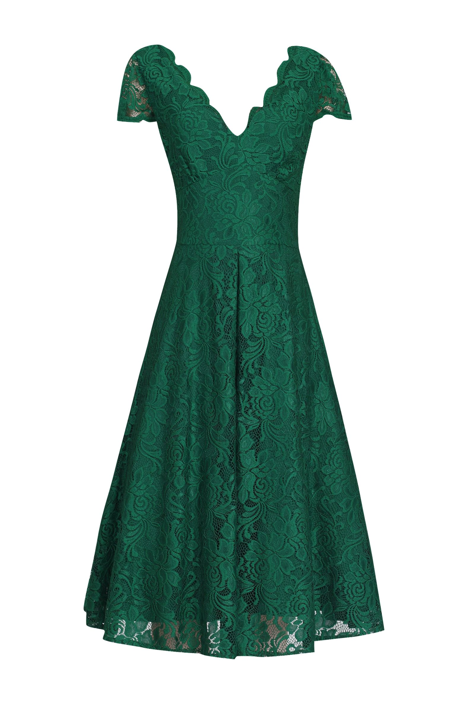 Jolie Moi Cap Sleeve Lace Prom Dress, Green