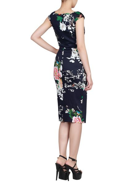 Jolie Moi Floral Print Ruched Wiggle Dress