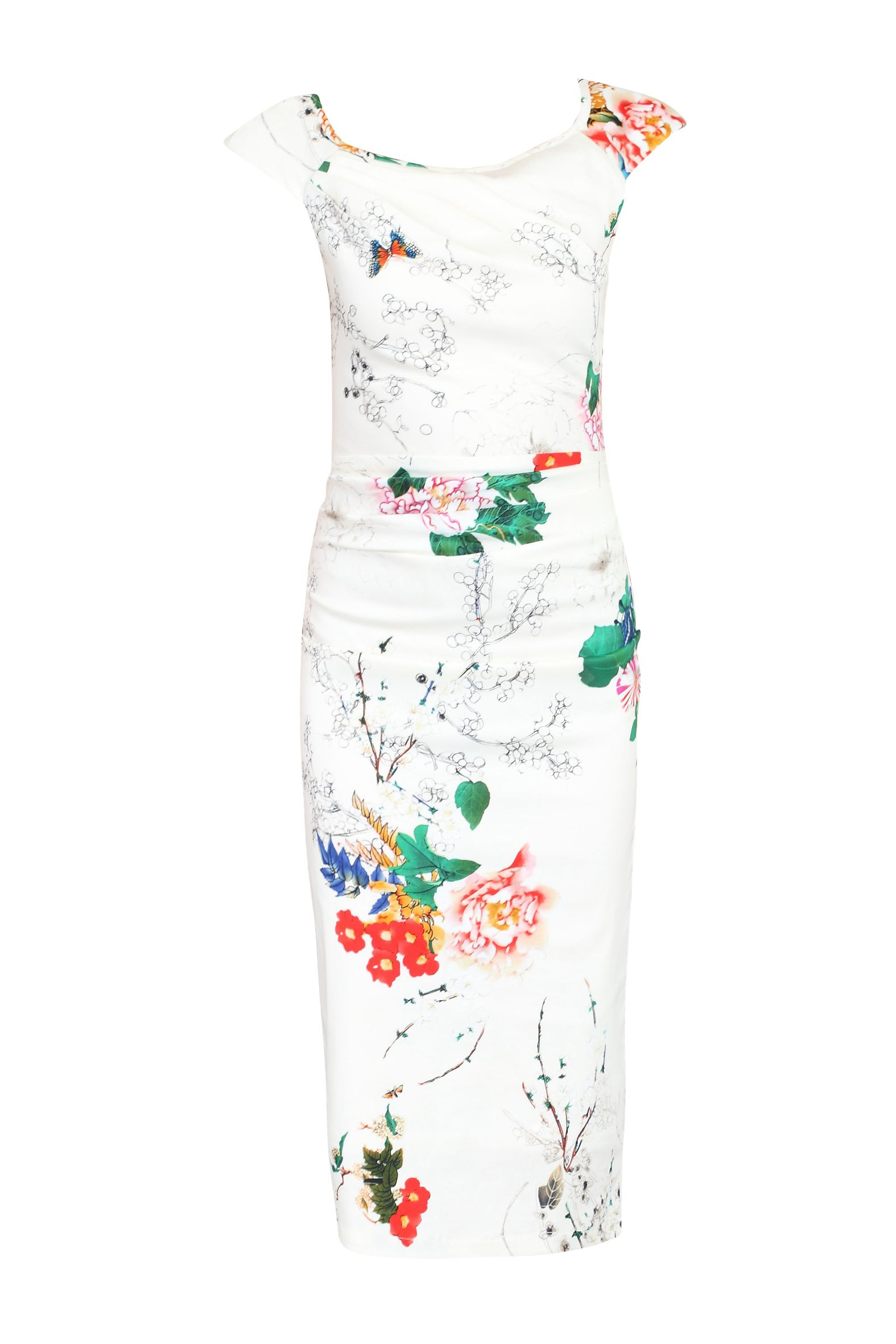 Jolie Moi 40s Floral Print Wiggle Dress, White