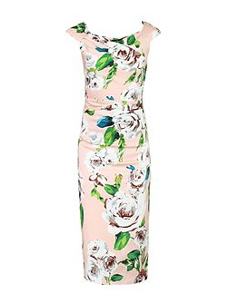 40s Floral Print Wiggle Dress