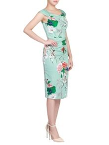 Jolie Moi 40s Floral Print Wiggle Dress