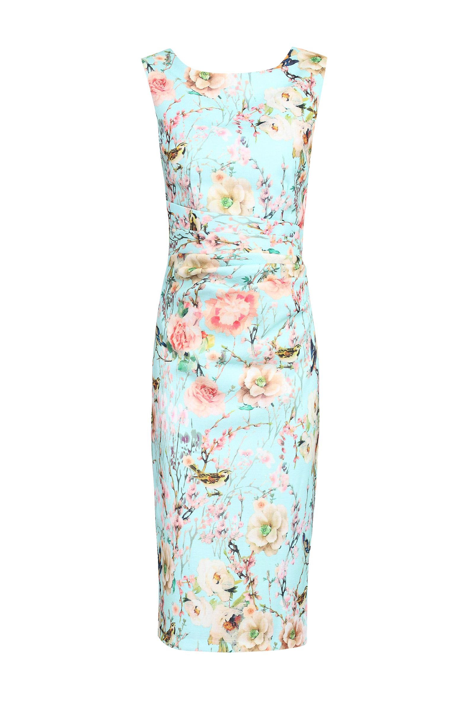 Jolie Moi Ruched Floral Printed Dress, Aqua