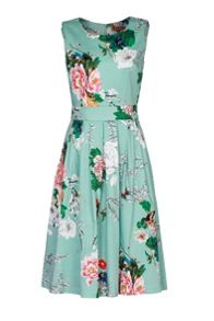Jolie Moi Floral Print Pleated 50s Dress