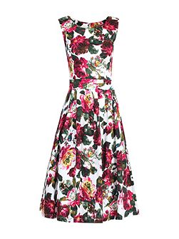Floral Print Pleated 50s Dress