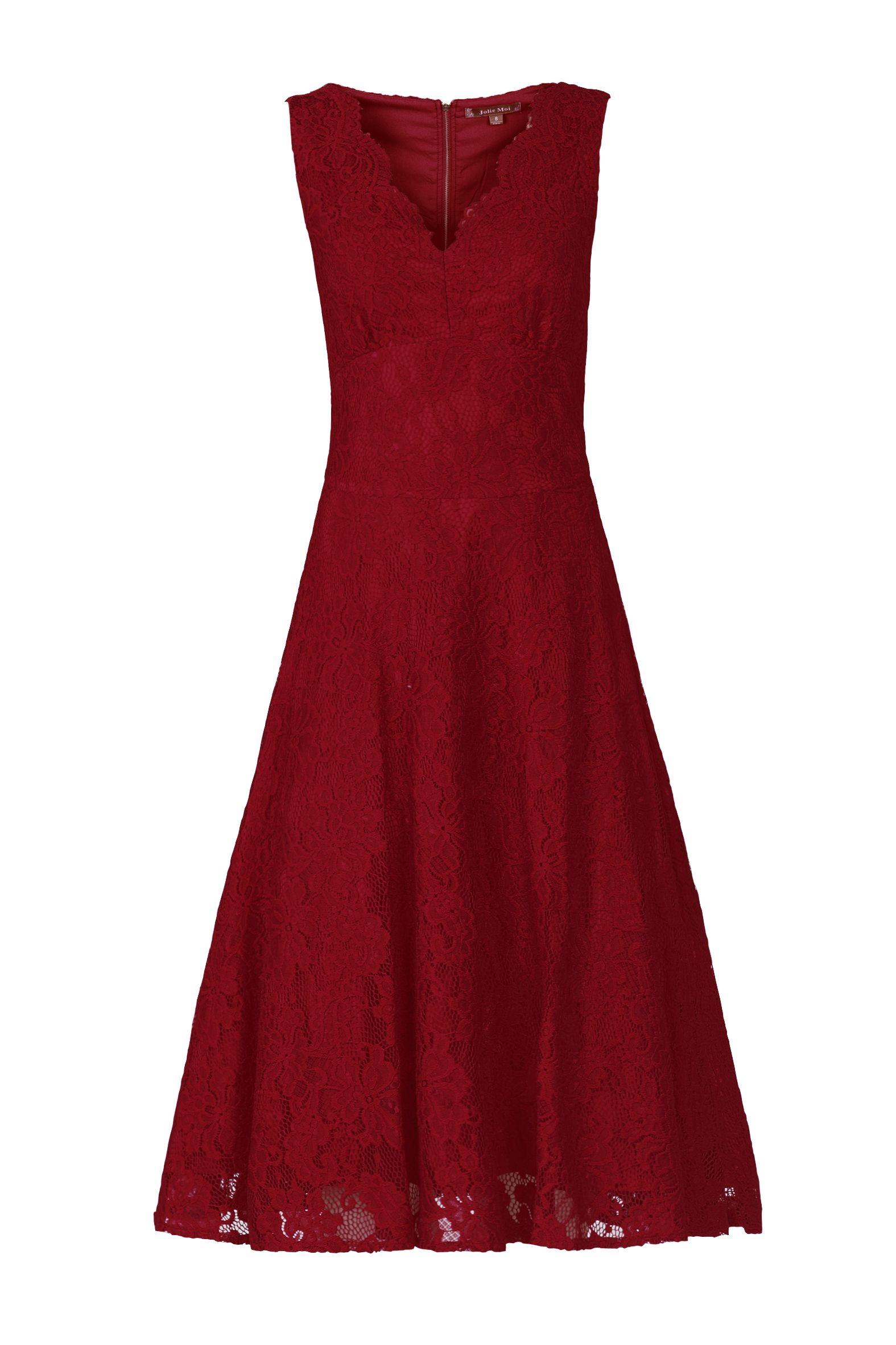 Jolie Moi Scalloped V Neck Lace Dress, Red
