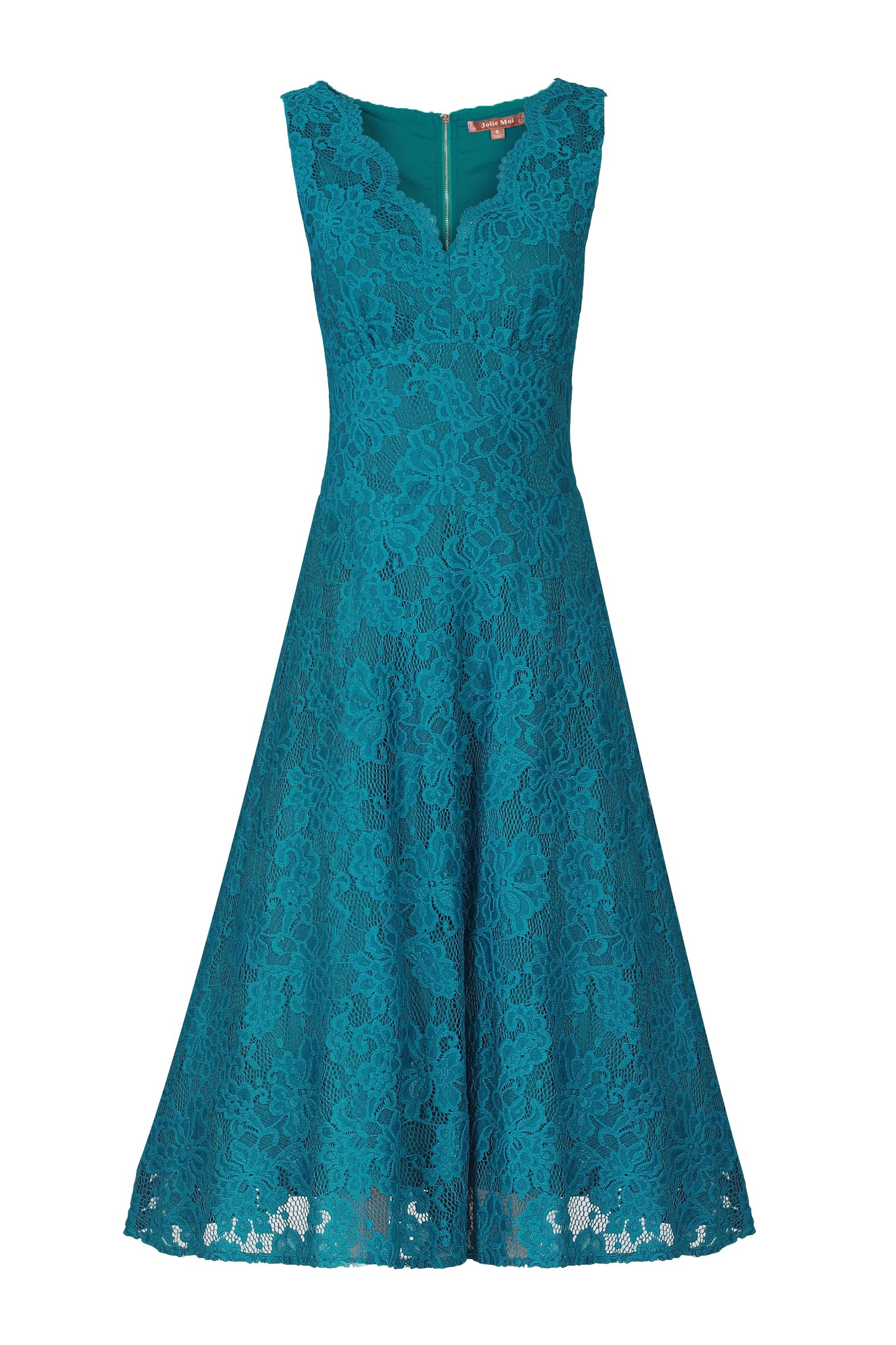 Jolie Moi Scalloped V Neck Lace Dress, Teal
