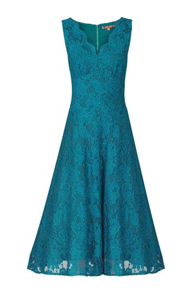 Jolie Moi Scalloped V Neck Lace Dress