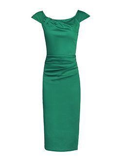 40s Ruched Wiggle Dress