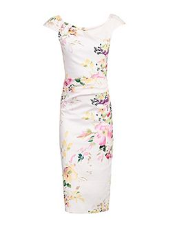 Ruched Floral Wiggle Dress