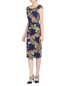 Jolie Moi Floral Print 40s Wiggle Dress