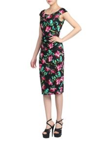 Jolie Moi Ruched Floral Wiggle Dress