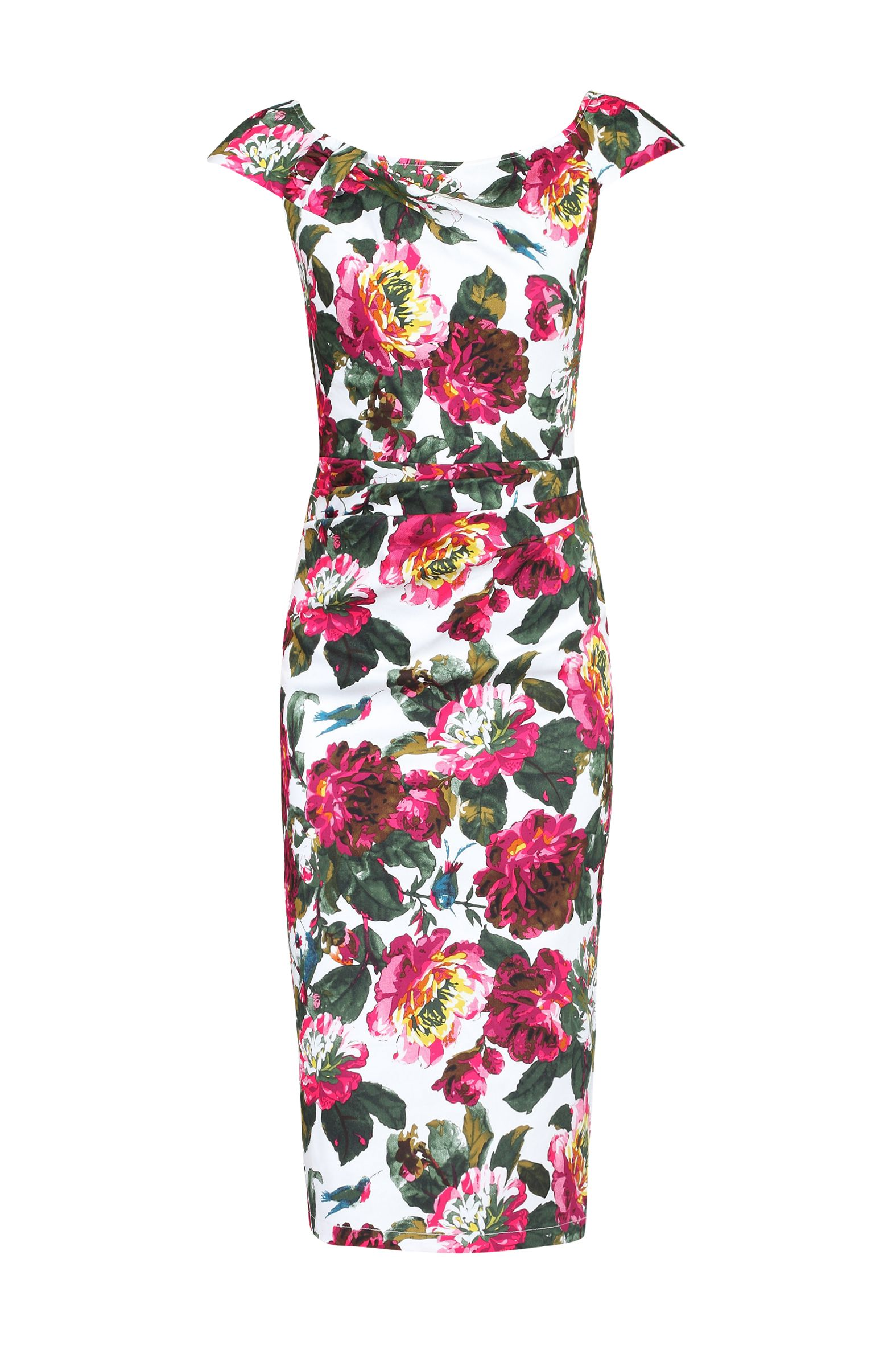 Jolie Moi Floral Print 40s Wiggle Dress, White