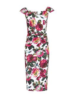 Floral Print 40s Wiggle Dress