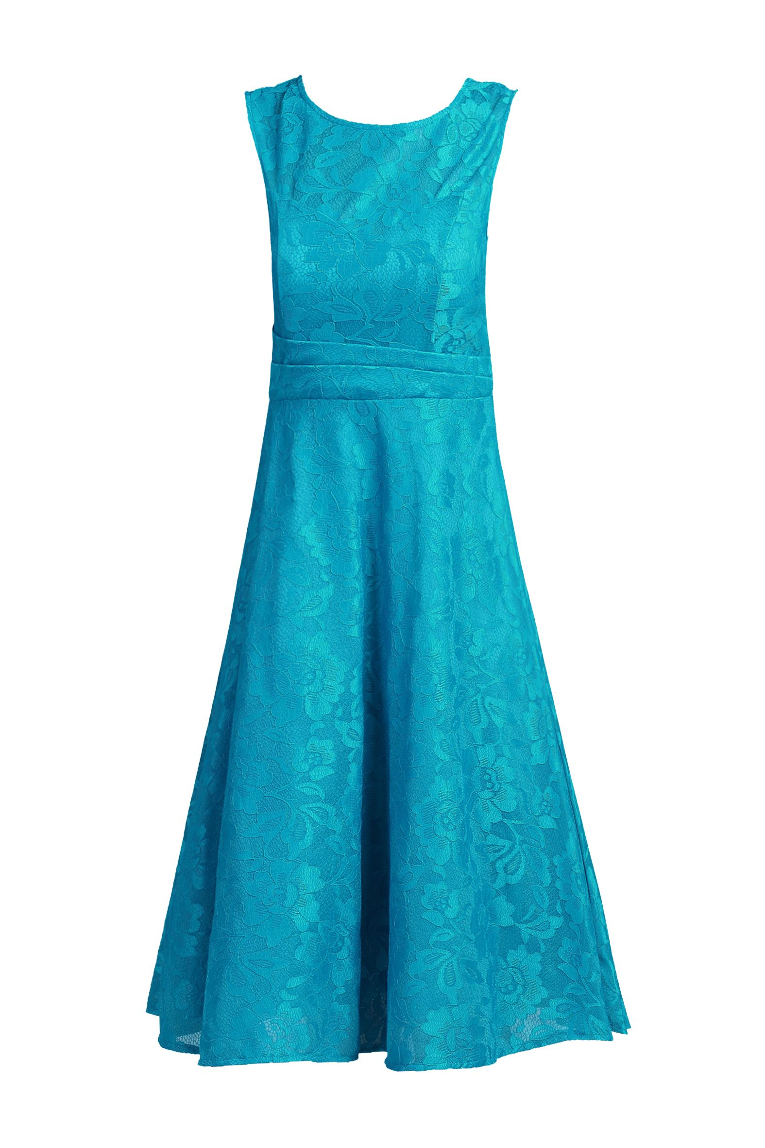 Jolie Moi Lace Bonded Fit and Flare Dress, Teal