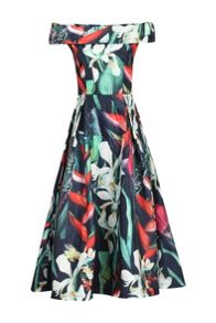 Jolie Moi 3D Bardot Neck Prom Midi Dress