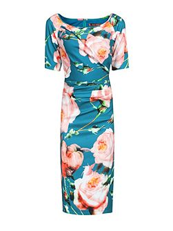Floral Print Half Sleeve Dress