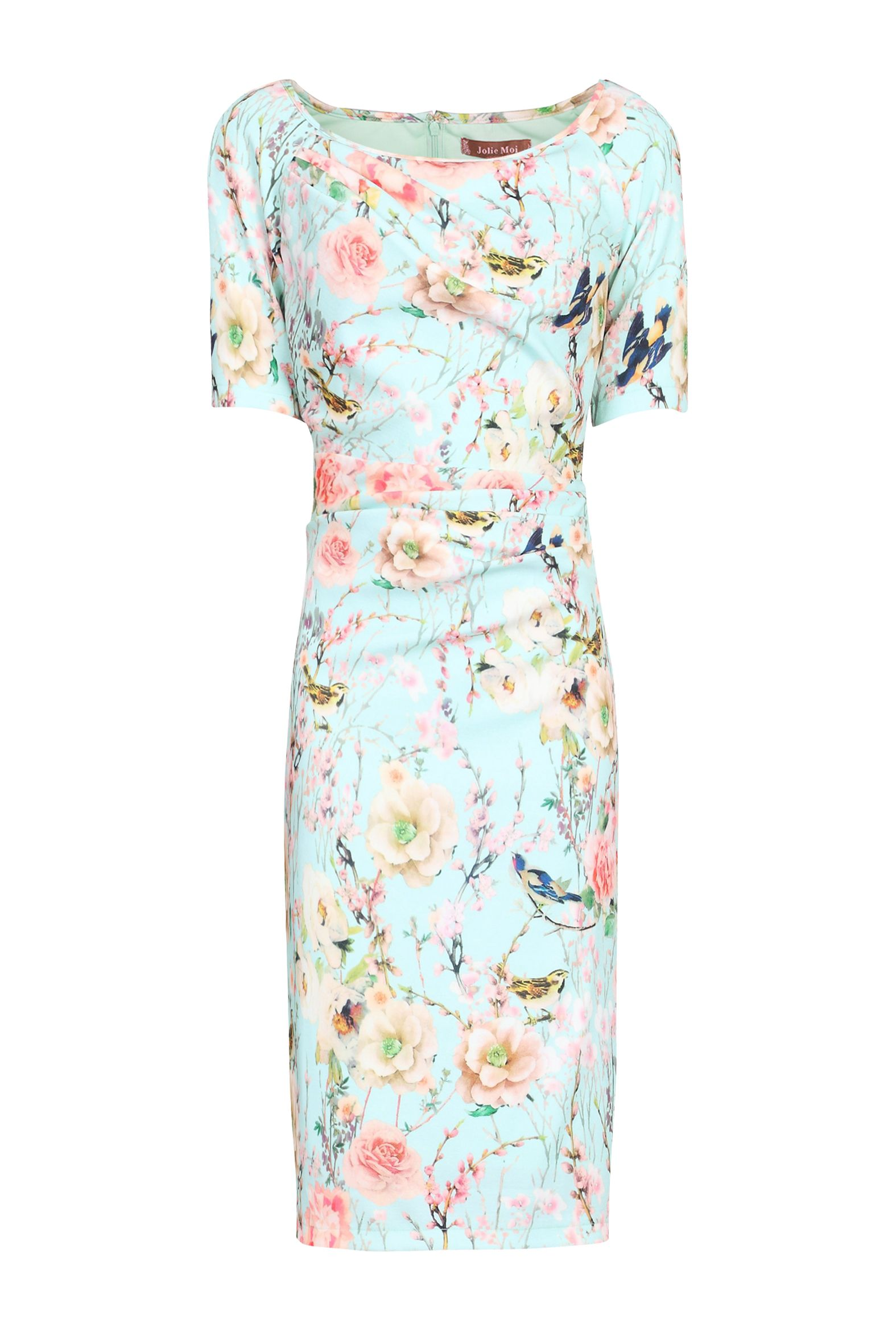 Jolie Moi Floral Print Half Sleeve Dress, Aqua