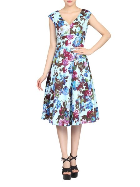 Jolie Moi Sweetheart Neck Printed Dress