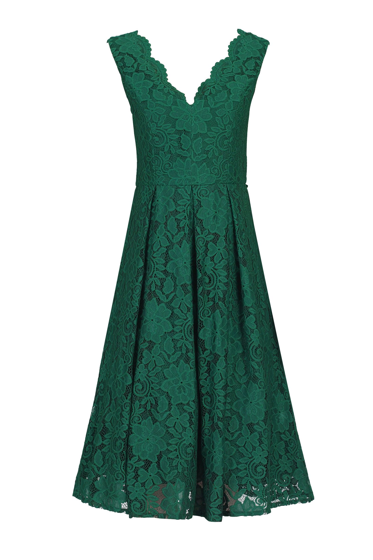 Jolie Moi V Neck Pleated Lace Dress, Dark Green