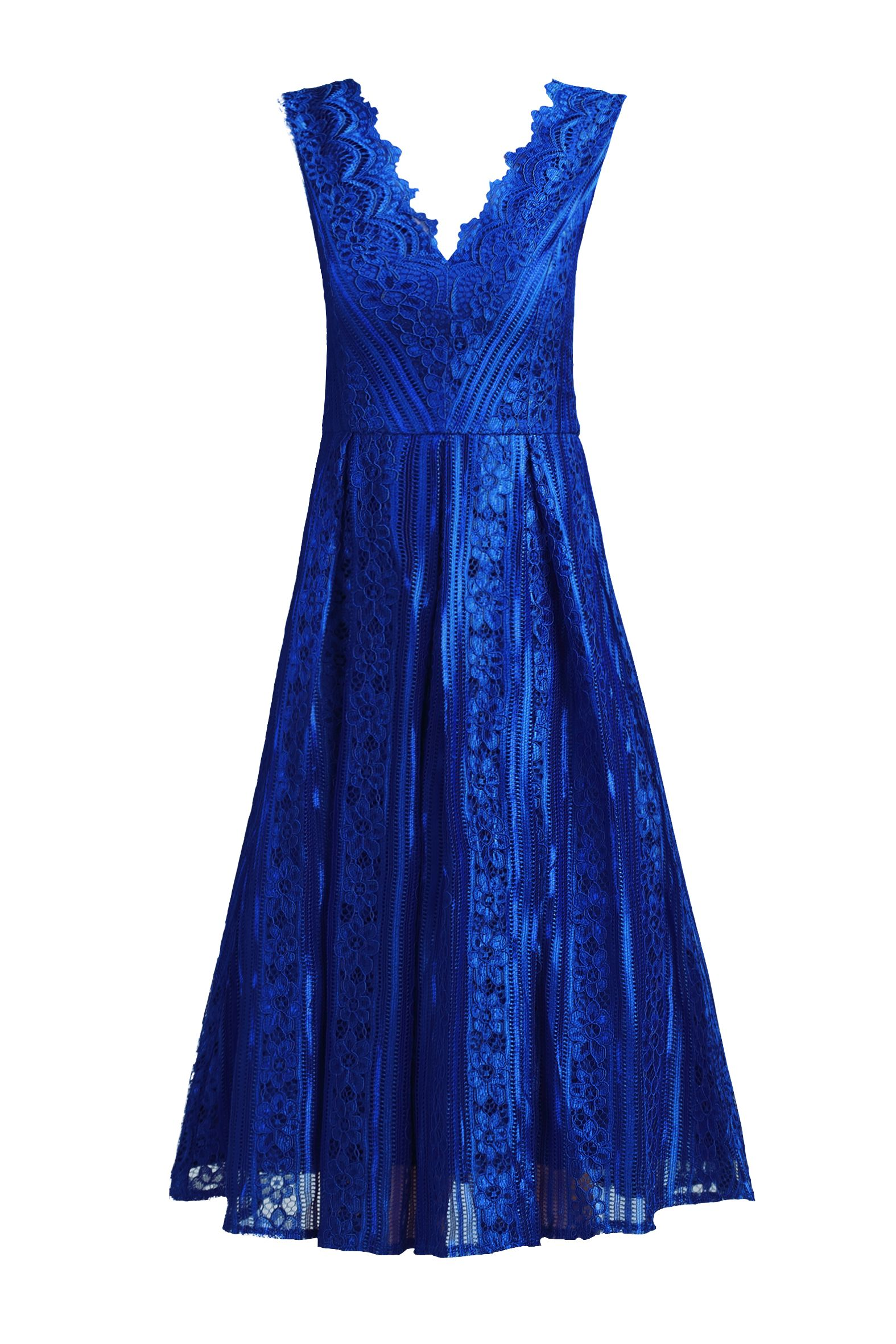 Jolie Moi Striped Pattern Lace Prom Dress, Royal Blue