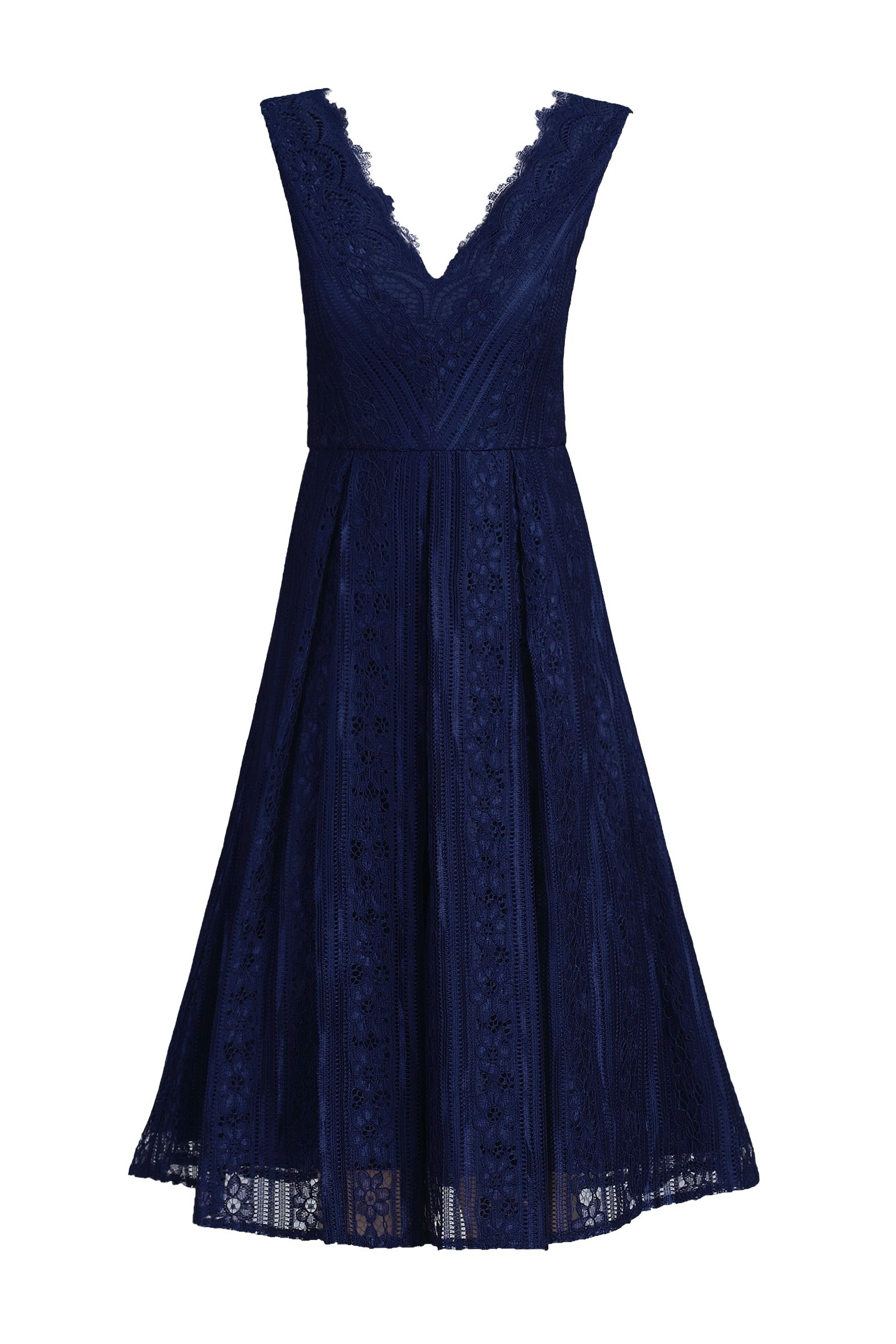 Jolie Moi Striped Pattern Lace Prom Dress, Blue