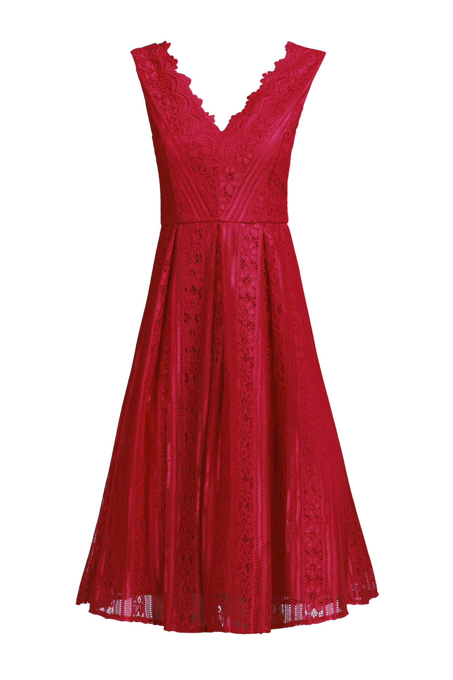 Jolie Moi Striped Pattern Lace Prom Dress, Red