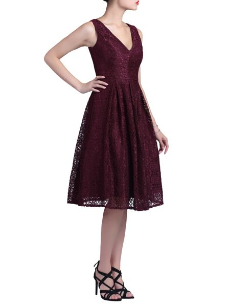 Jolie Moi 50s Pleated Lace Dress