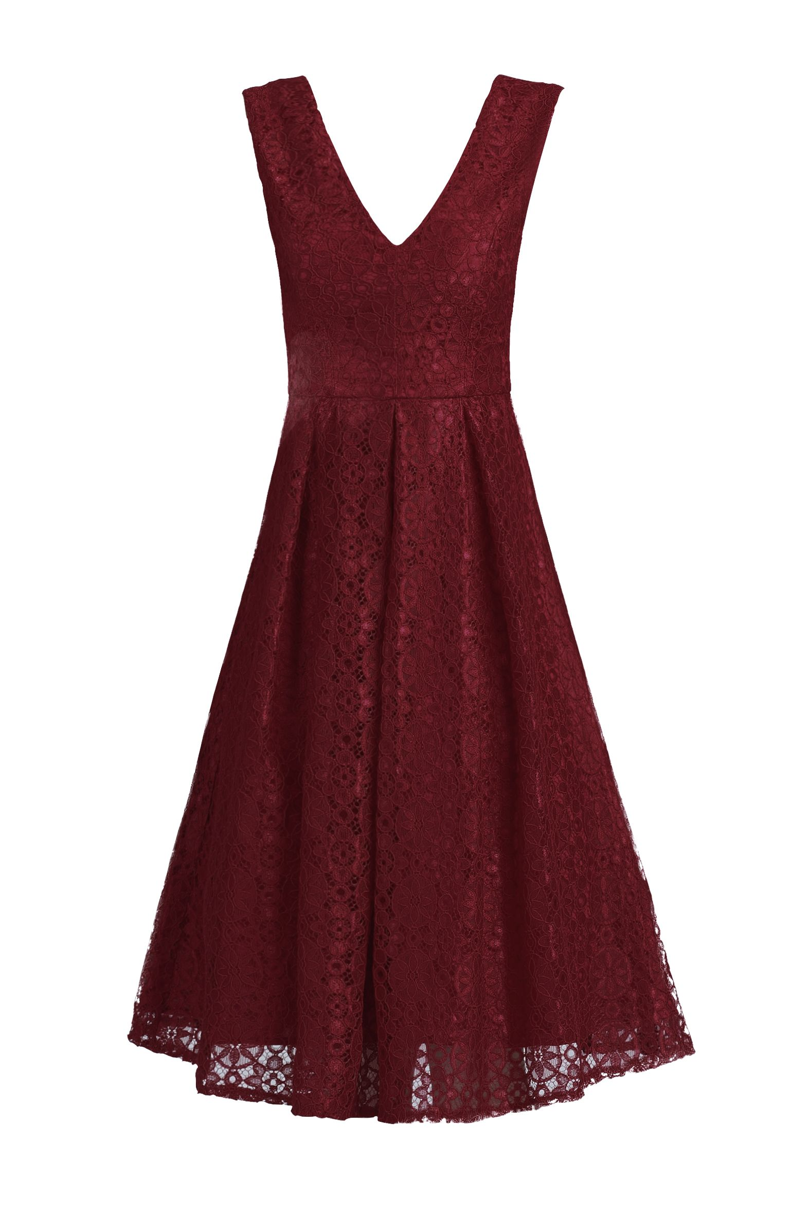 Jolie Moi 50s Pleated Lace Dress, Red
