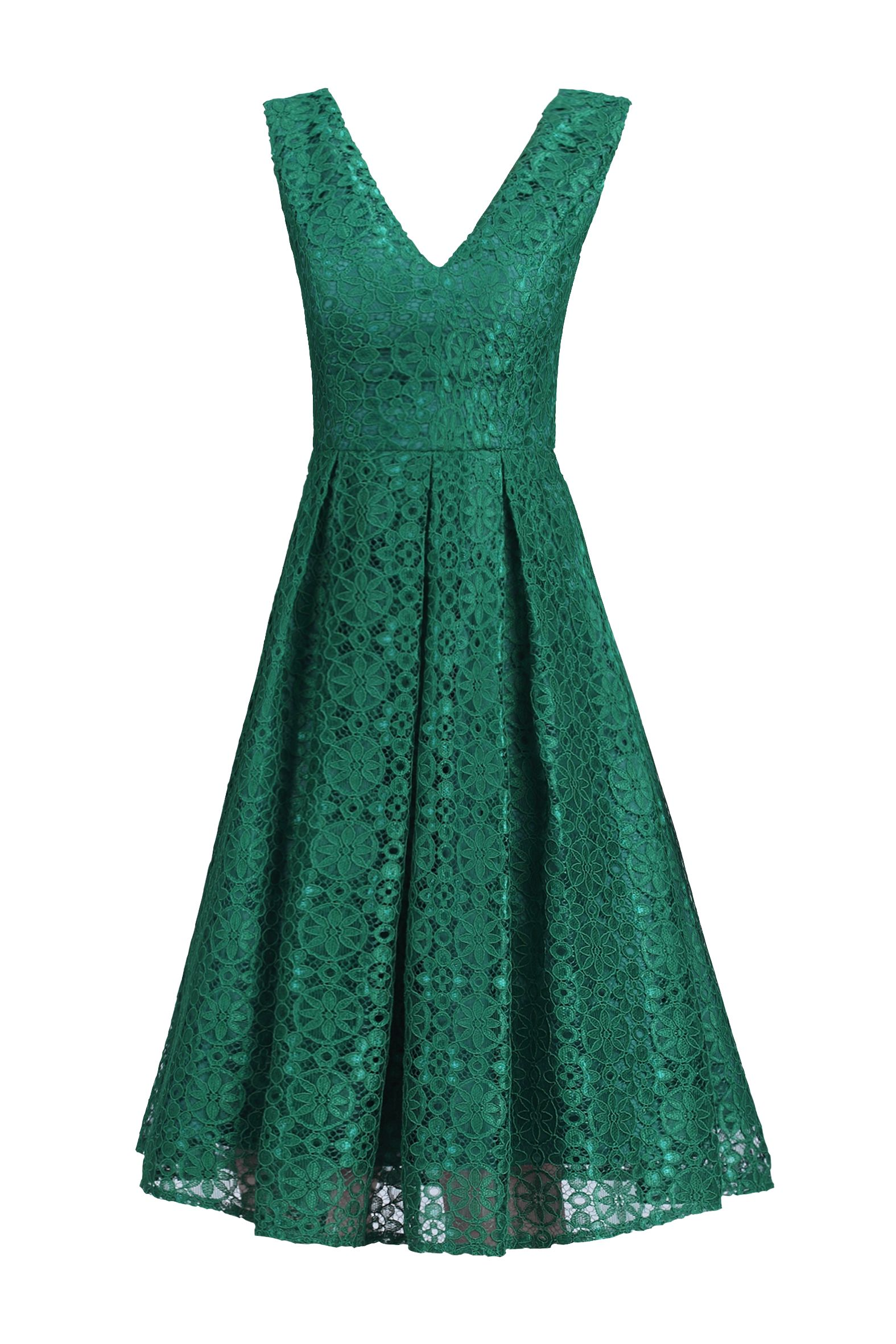 Jolie Moi 50s Pleated Lace Dress, Green