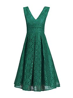 50s Pleated Lace Dress