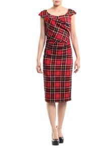 Jolie Moi Tartan Print Ruched Dress