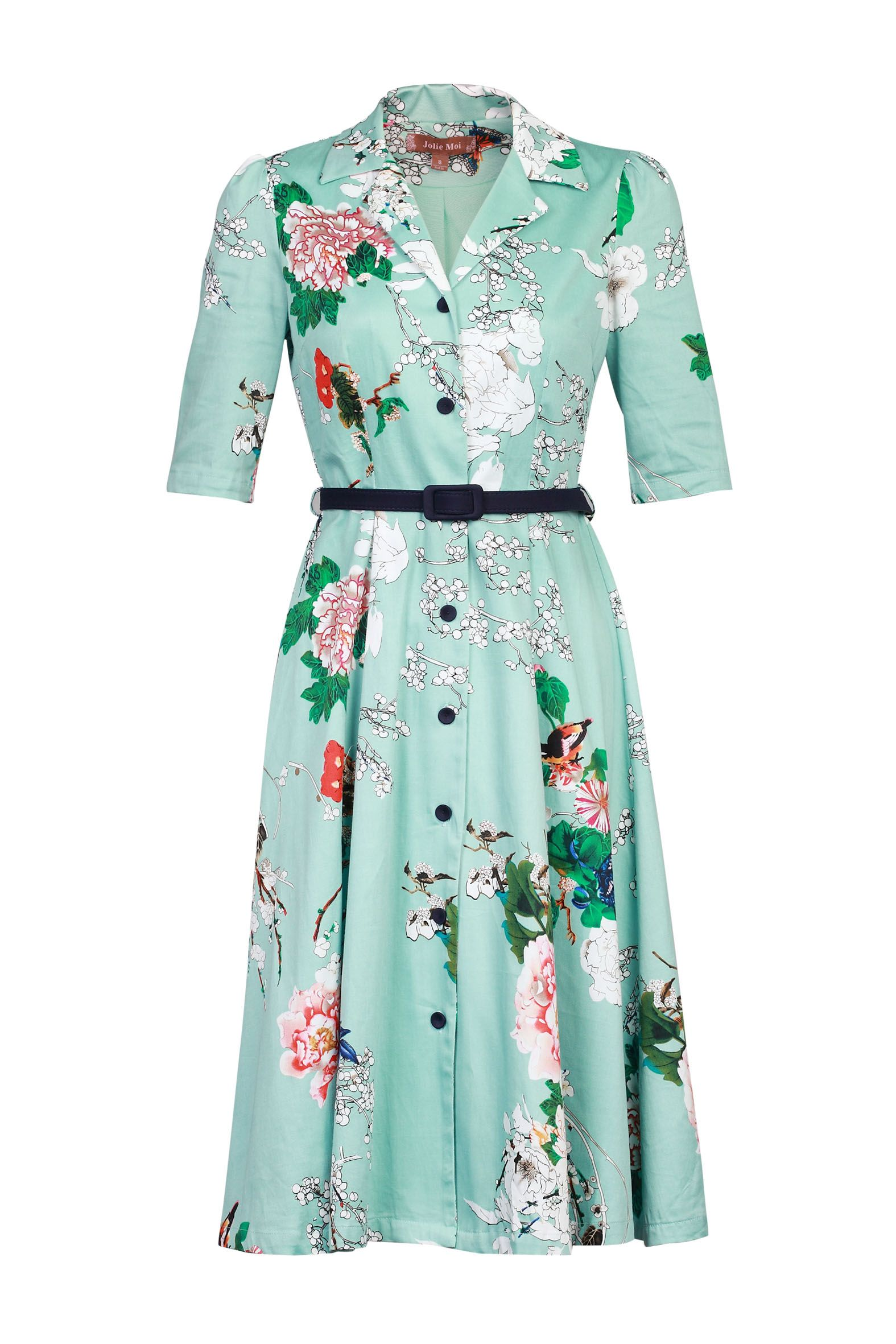 Jolie Moi Floral Print Shirt Dress, Aqua