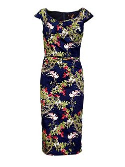 Floral Ruched Wiggle Dress