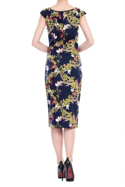 Jolie Moi Floral Ruched Wiggle Dress
