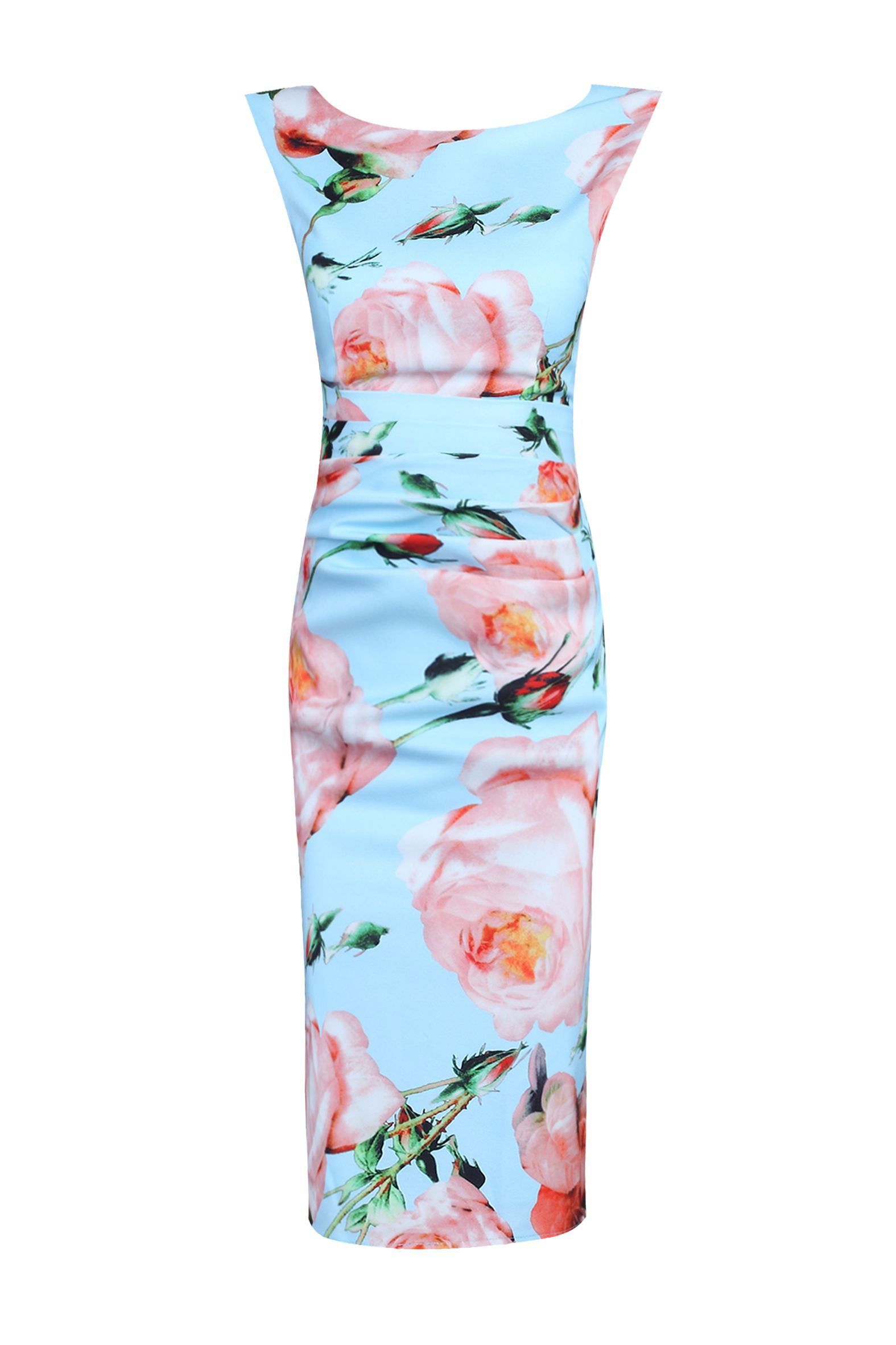 Jolie Moi Floral Print Ruched Shift Dress, Blue