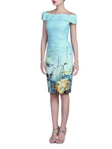 Jolie Moi Floral Print Bardot Neck Ruched Dress