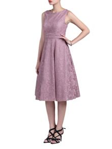Jolie Moi Lace Bonded Fit and Flare Dress