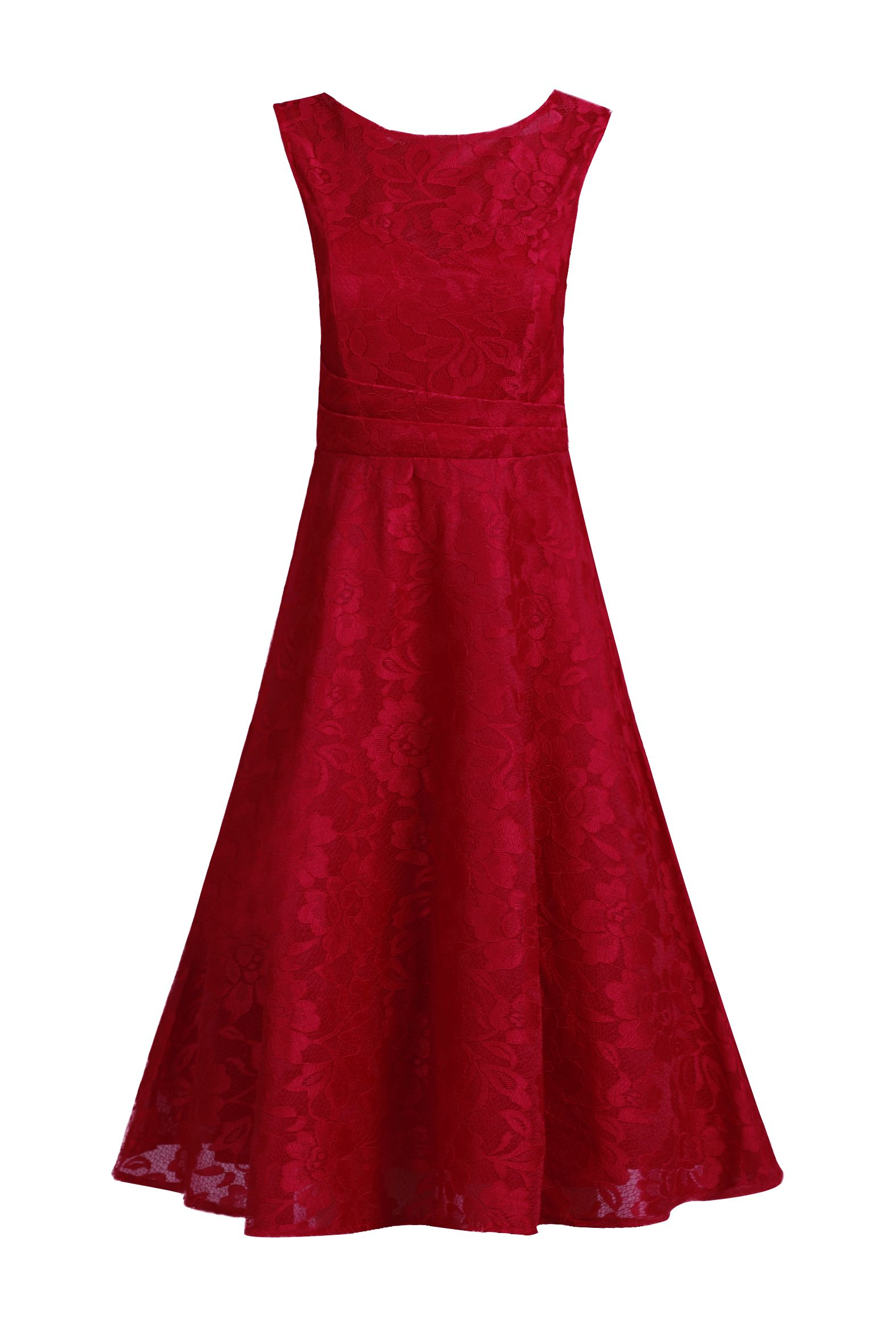 Jolie Moi Lace Bonded Fit and Flare Dress, Red